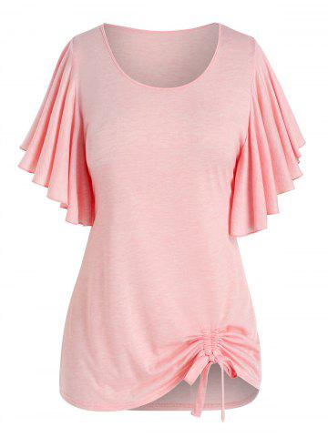 Plus Size Butterfly Flutter Sleeve Cinched Tunic T-shirt - PINK - L
