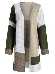 Colorblock Open Front Pocket Knitted Coat -