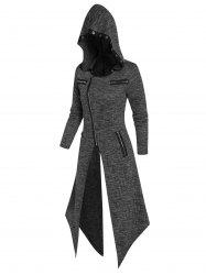 Hooded Eyelet Zippered Knitted Handkerchief Coat -
