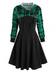 Hooded Plaid Print Buckle Strap Lace-up Dress -