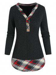 Plaid Print Faux Twinset Henley Sweater -