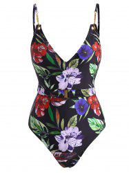Chain Embellished Flower Print Belted One-piece Swimsuit -