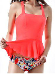 Cross Back Neon Print Peplum Tankini Swimwear -