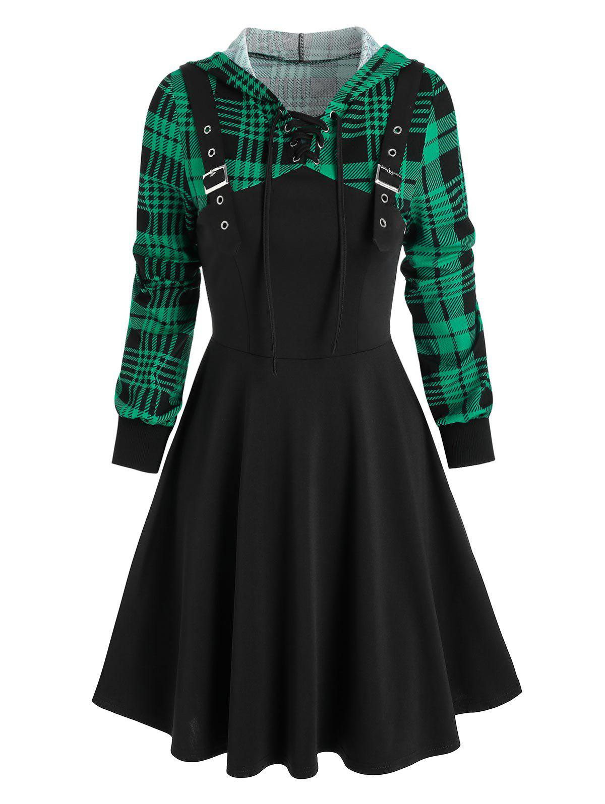 Online Hooded Plaid Print Buckle Strap Lace-up Dress