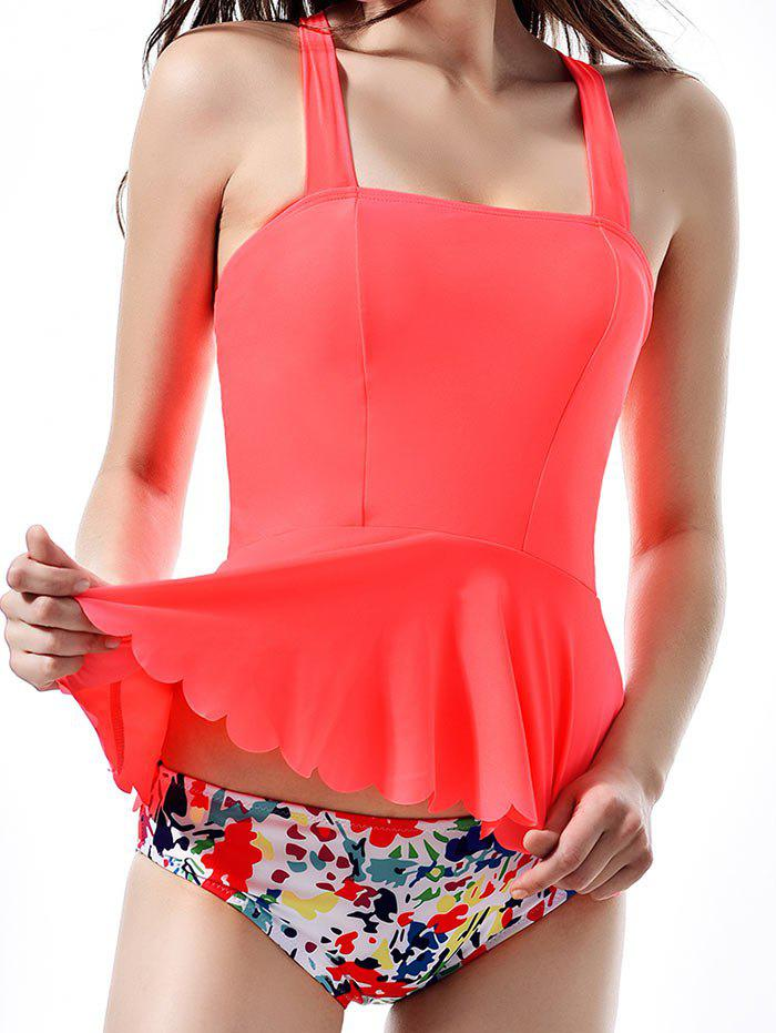 Shop Cross Back Neon Print Peplum Tankini Swimwear