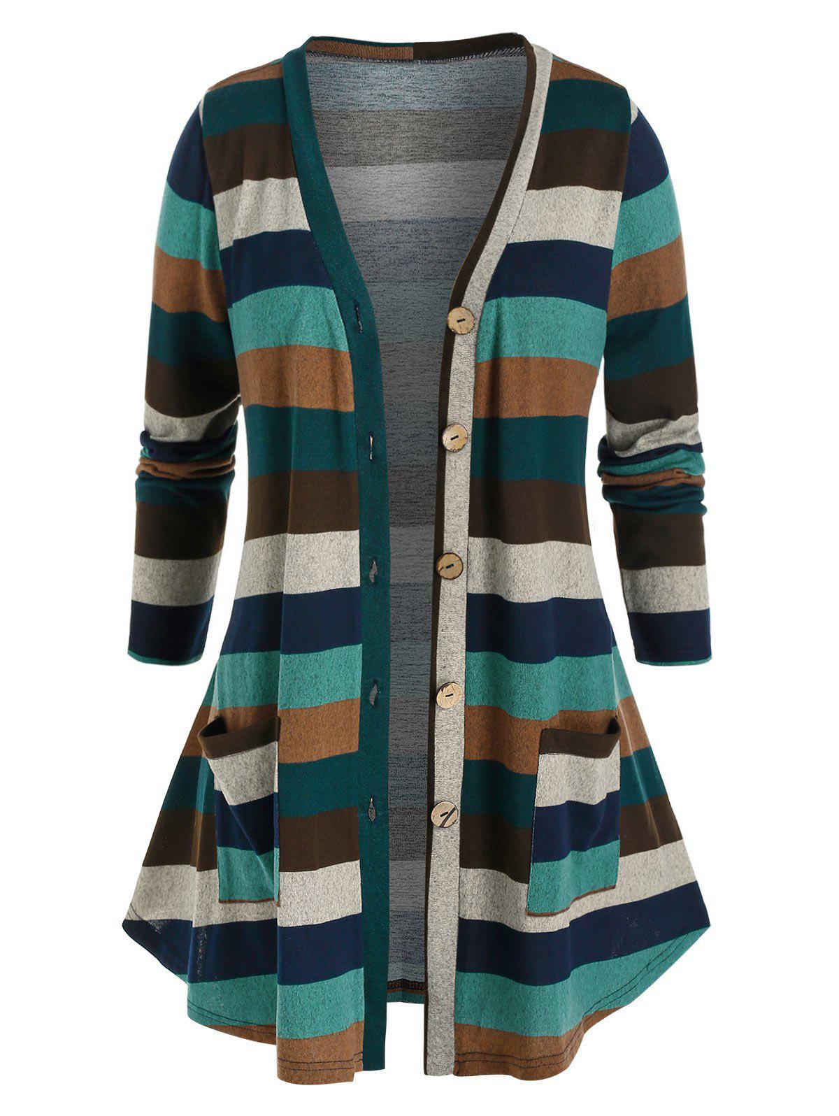 Discount Plus Size Striped Button Front Knitted Pocket Cardigan