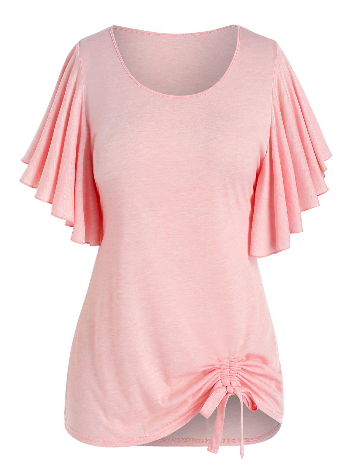 Sale Plus Size Butterfly Flutter Sleeve Cinched Tunic T-shirt