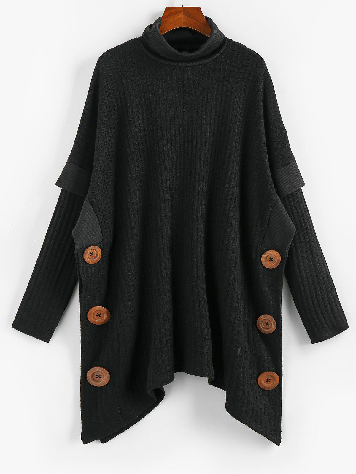 Cheap Mock Button Turtleneck Ribbed Cape Sweater