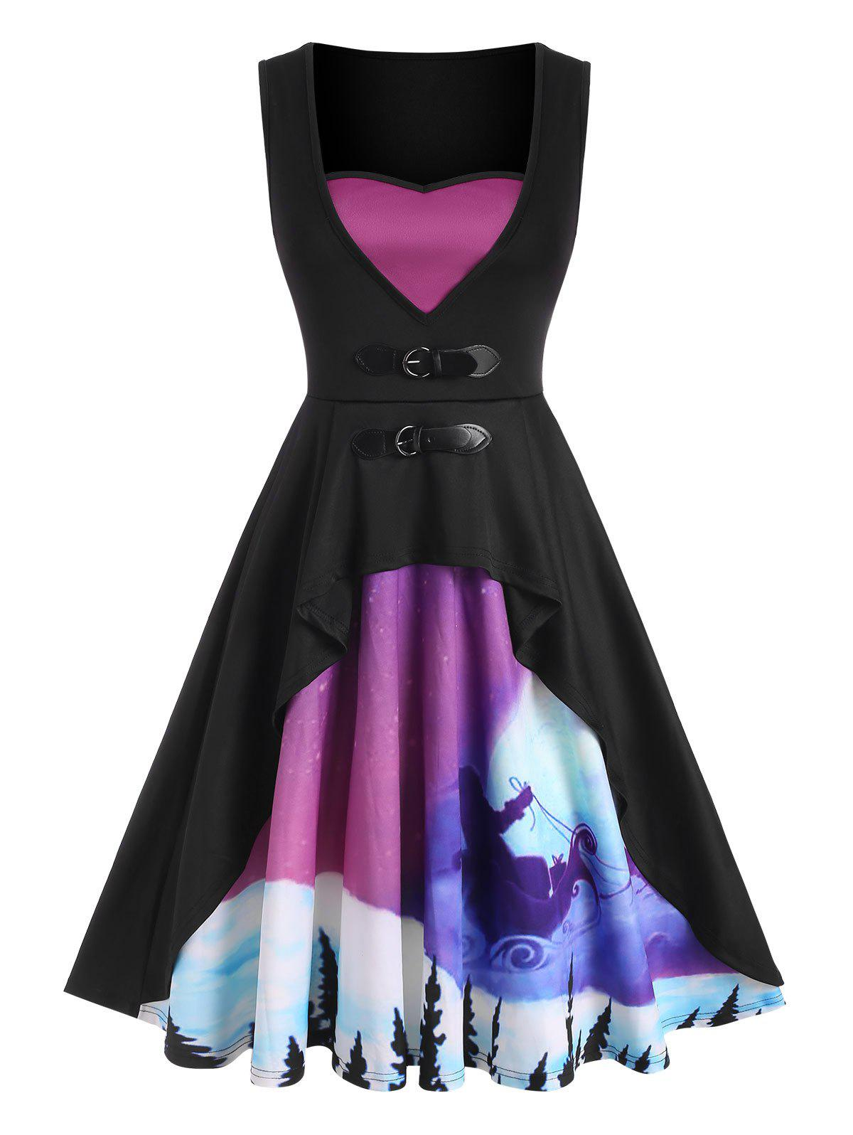 Fancy Christmas Print Buckled Sleeveless Fit and Flare Dress