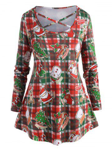 Plus Size Christmas Printed Crisscross Plaid T Shirt - DEEP GREEN - 5X