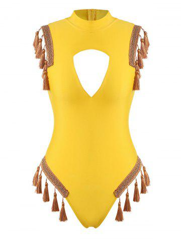 Tape Trim Tassel Cutout High Neck One-piece Swimsuit - YELLOW - XL