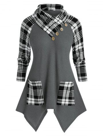 Plus Size Plaid Hanky Hem Foldover Pocket Tunic Sweater - BATTLESHIP GRAY - 5X