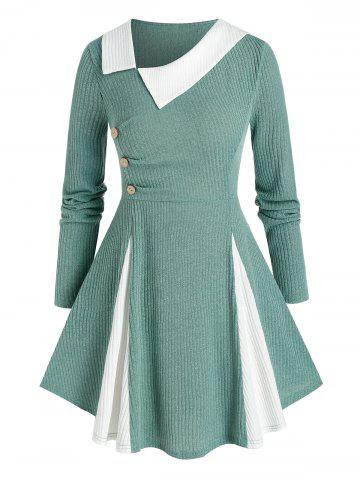 Plus Size Bicolor Godet Skew Collar A Line Tunic Sweater - SEA GREEN - 5X