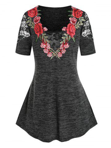 Plus Size Lace Panel Embroidery Floral T Shirt