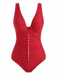 Plunge Beading Ruched One-piece Swimsuit -