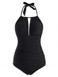 Halter Cutout Ruched One-piece Swimsuit -
