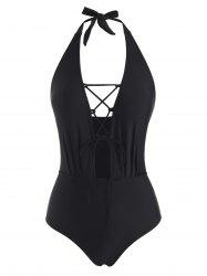 Plunge Halter Lace-up One-piece Swimsuit -