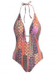 Ethnic Flower Paisley Halter Backless One-piece Swimsuit -