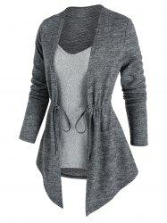 Cinched Contrast Heathered Faux Twinset Sweater -