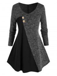 Plus Size Marled Bicolor A Line Tunic Sweater -