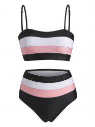 Striped Colorblock High Rise Bikini Swimwear -