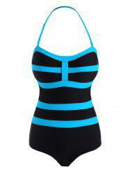 Striped Bicolor Halter One-piece Swimsuit -