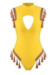 Tape Trim Tassel Cutout High Neck One-piece Swimsuit -