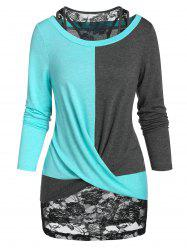 Colorblock Twist T Shirt and Racerback Tank Top Set -