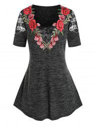 Plus Size Lace Panel Embroidery Floral T Shirt -
