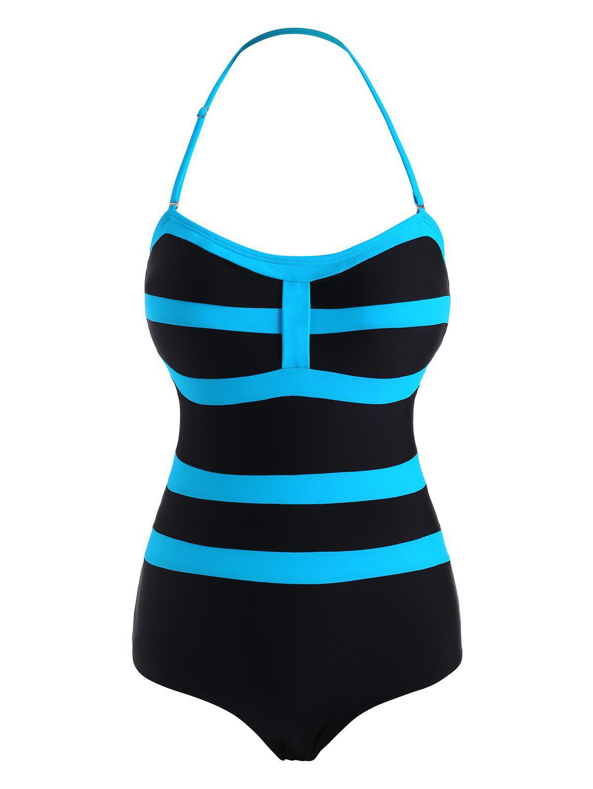 Outfits Striped Bicolor Halter One-piece Swimsuit