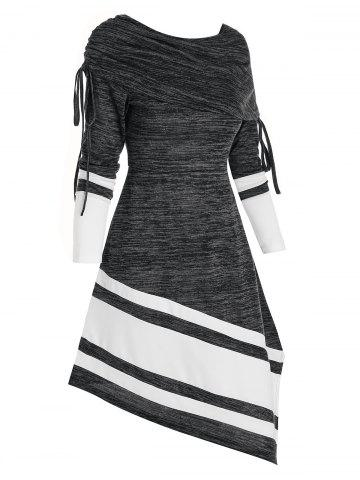 Striped Drawstring Foldover Asymmetrical Dress - BLACK - 3XL