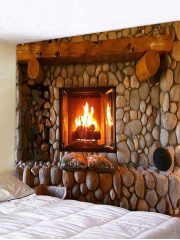 Retro Fireplace Printing Wall Tapestry - RED DIRT - W59 X L51 INCH
