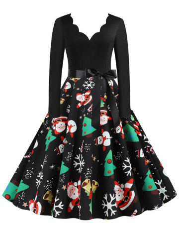 Christmas Trees Snowman Snowflake Long Sleeve Belted Dress