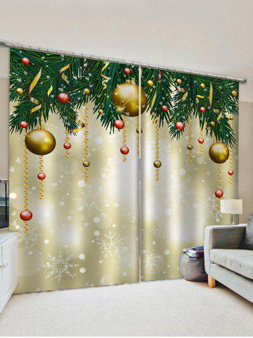 2 Panels Christmas Tree's Ball Waterproof  Window Curtains
