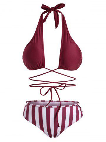 Striped Halter Cross Wrap Bikini Swimwear - DEEP RED - L