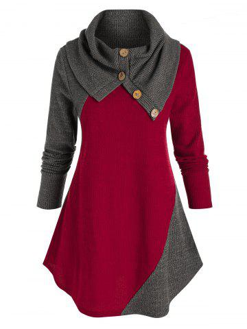 Plus Size Two Tone Foldover Curved Hem Tunic Sweater