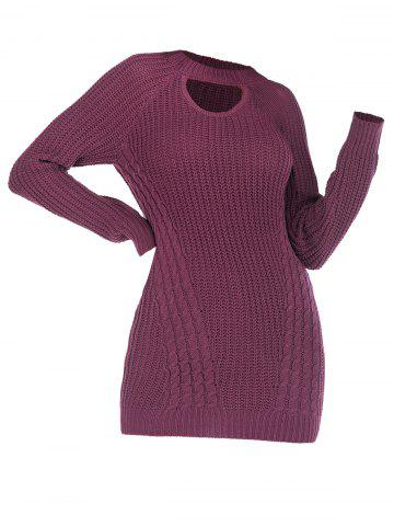 Cutout Cable Knit Raglan Sleeve Sweater - CONCORD - XXXL