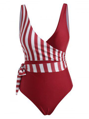 Plunge Striped Wrap One-piece Swimsuit