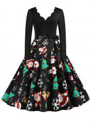 Christmas Trees Snowman Snowflake Long Sleeve Belted Dress -