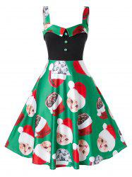 Plus Size Christmas Cat Print Vintage Dress -