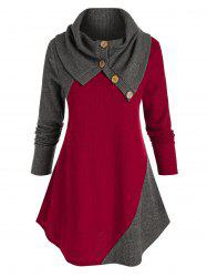 Plus Size Two Tone Foldover Curved Hem Tunic Sweater -