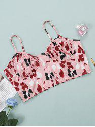 Plus Size Printed Ruched Bust Bralette -