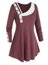 Plus Size Skew Neck Mock Button Paneled T Shirt -