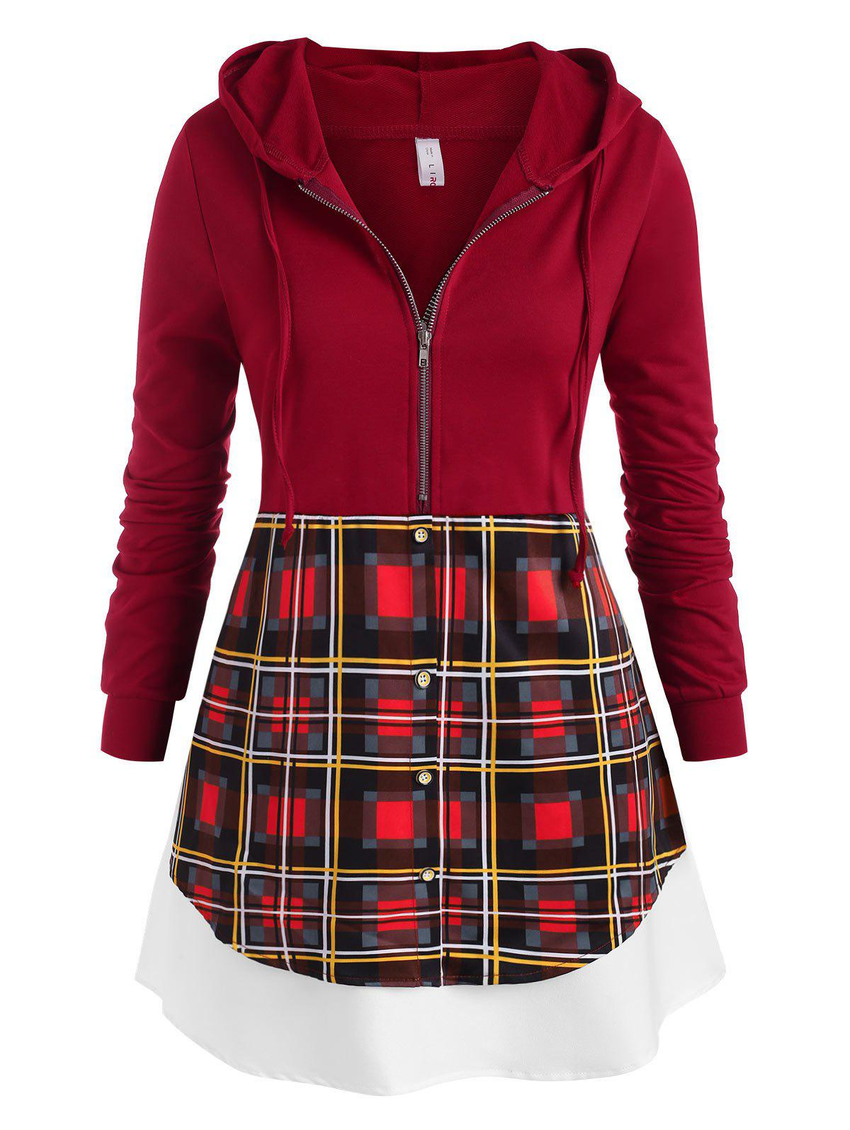 Sale Plus Size Half Zipper Plaid Hooded Layered Top