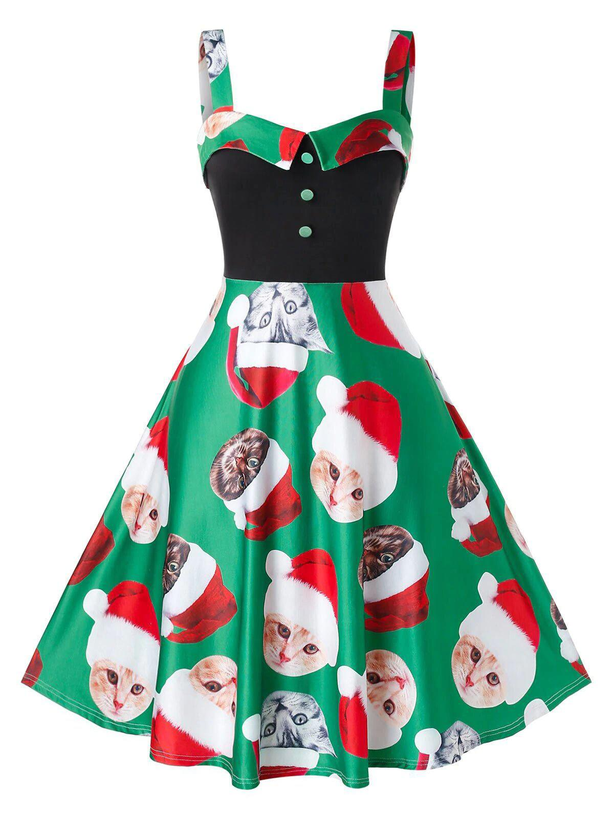 Outfits Plus Size Christmas Cat Print Vintage Dress