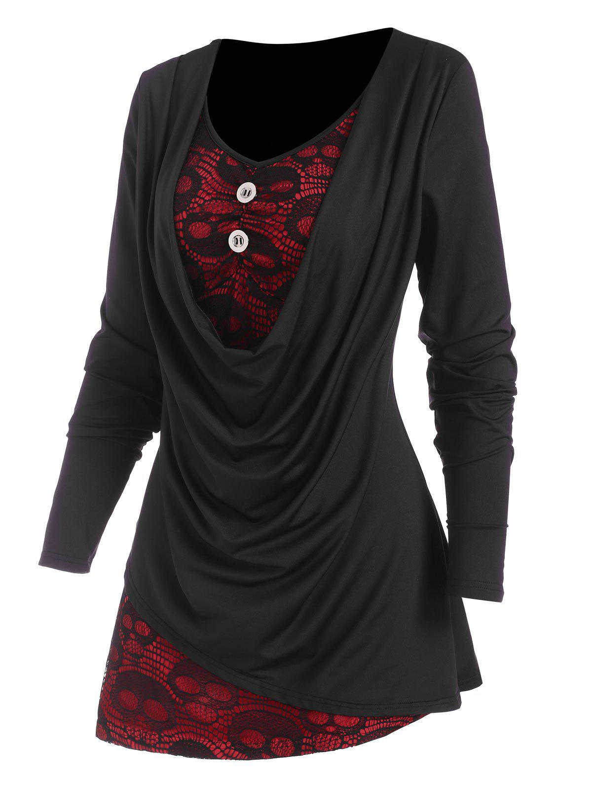 Affordable Cowl Front Skull Lace Asymmetrical Twofer T Shirt