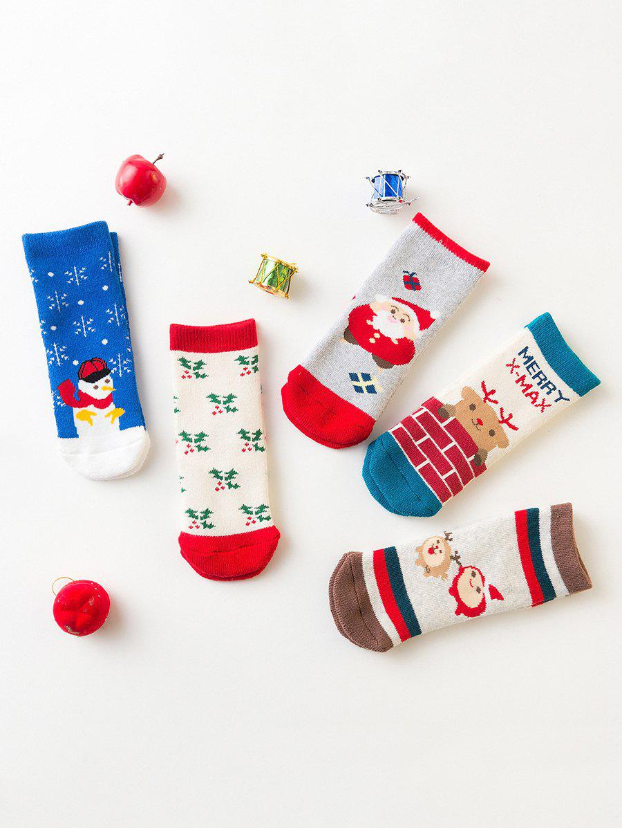 Discount 5 Pairs  Children Christmas Mid-calf Length Socks