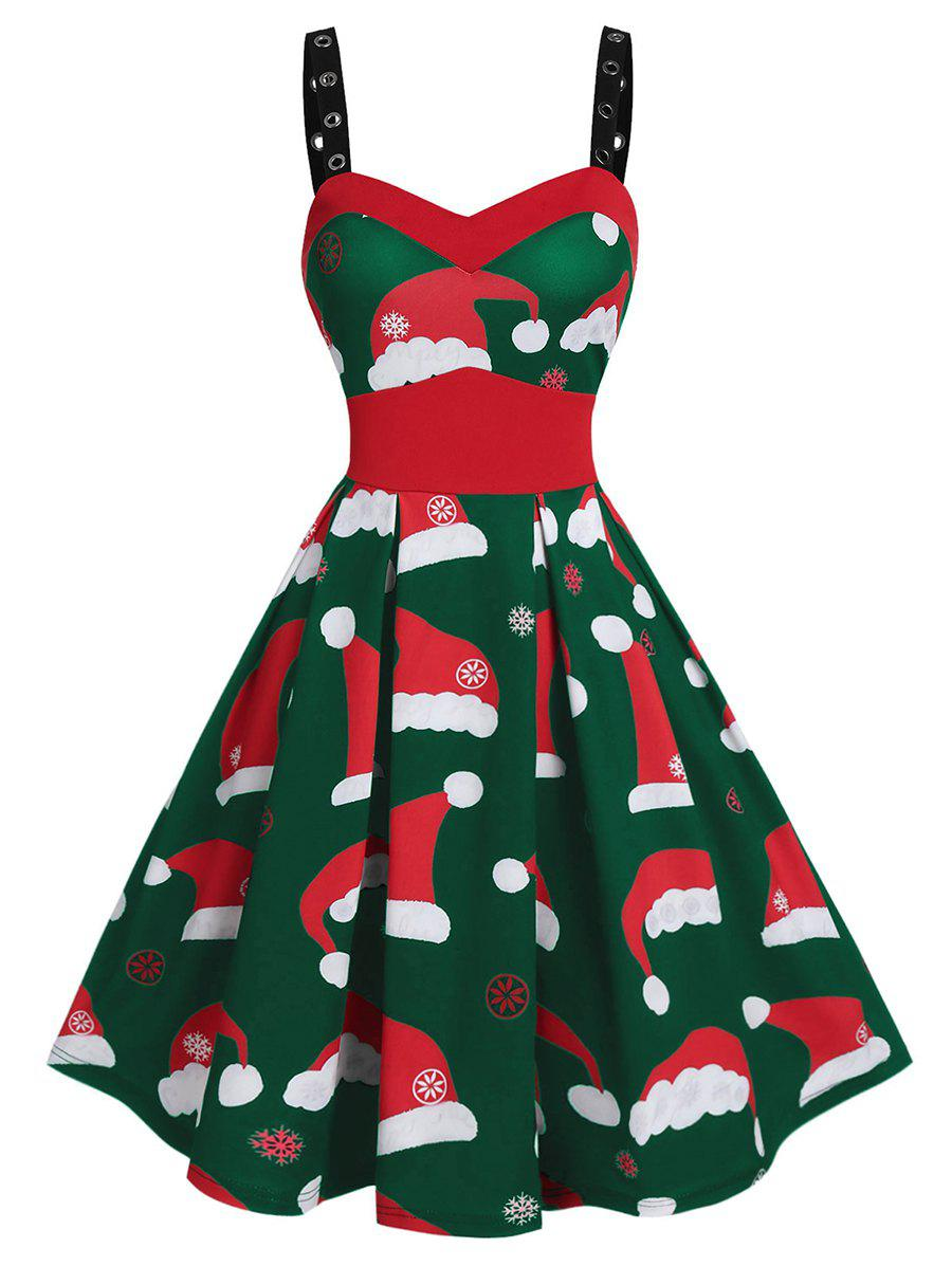 Plus Size Christmas Hats Print Eyelet Straps Dress