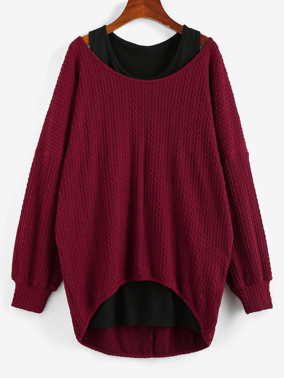 Chic Drop Shoulder Jacquard High Low Sweater and Plain Tank Top