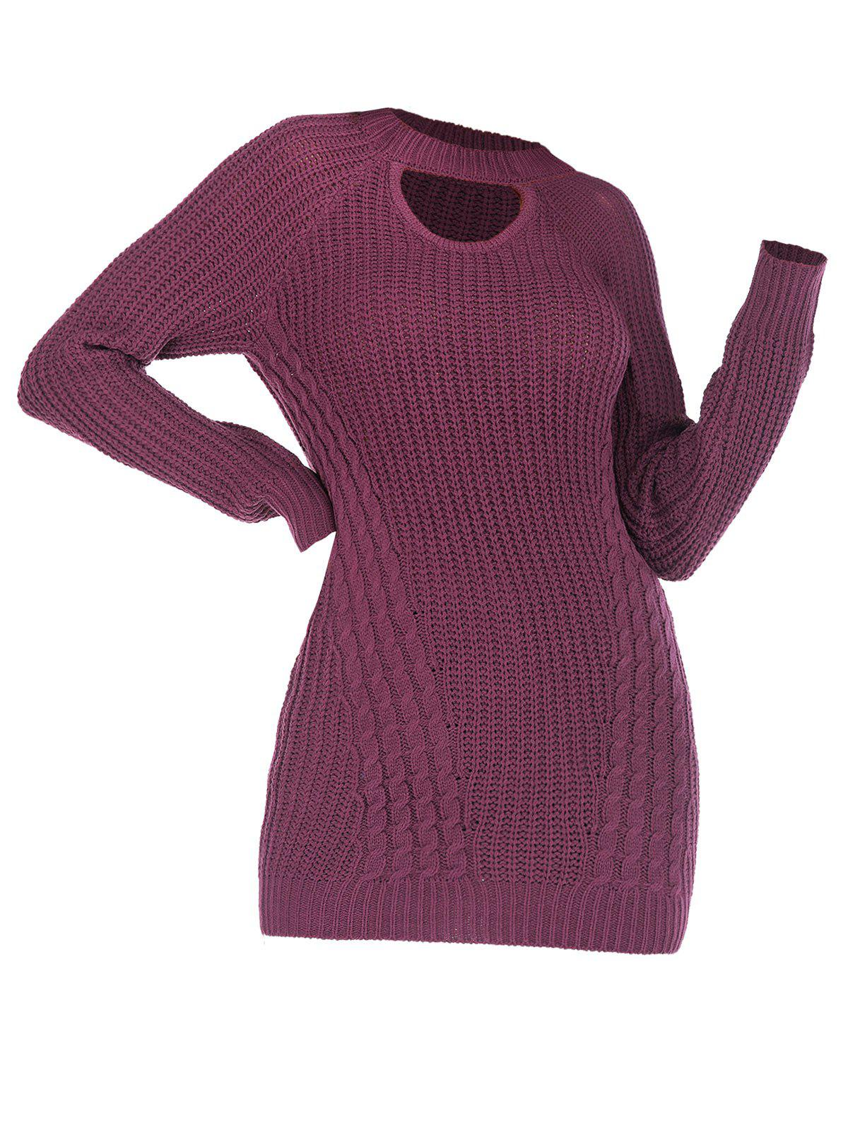 Best Cutout Cable Knit Raglan Sleeve Sweater